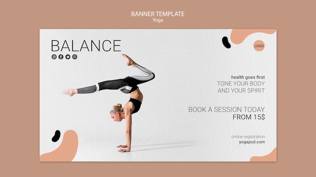 Yoga banner vorlage mit mädchen