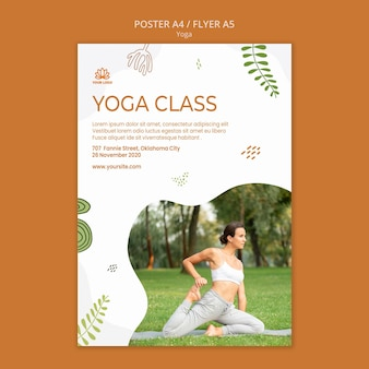 Yoga-positionen flyer vorlage