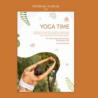 Yoga-positionen flyer vorlage