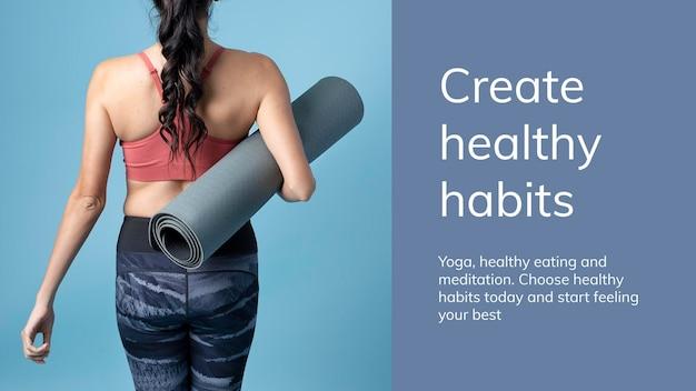 Yoga-übungs-wellness-vorlage psd für die präsentation eines gesunden lebensstils