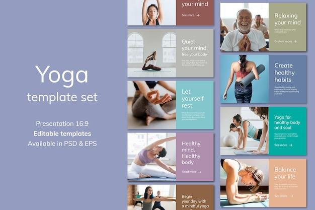 Yoga-wellness-marketing-vorlage psd für einen gesunden lebensstil für präsentationsset