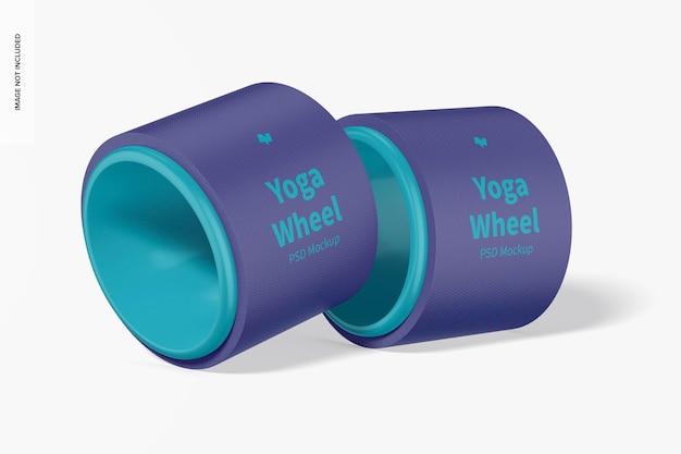 Yoga wheel mockup, gelehnt
