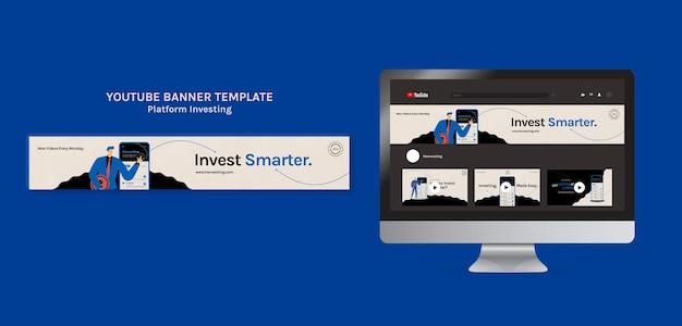 Youtube-bannervorlage für plattforminvestition