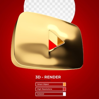 Youtube gold play button 3d-rendering