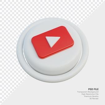 Youtube isometrische 3d-stil-logo-konzept-symbol in runde isoliert