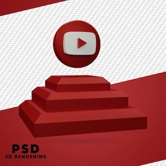 Youtube-rendering-design der 3d-box isoliert