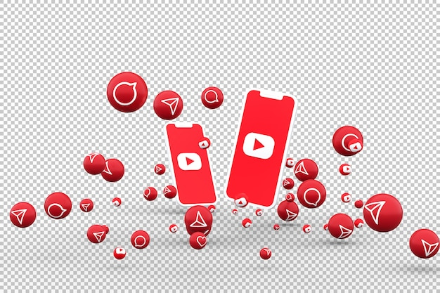 Youtube-symbol auf dem bildschirm smartphone und youtube-reaktionen lieben emoji 3d-rendering auf transparentem hintergrund
