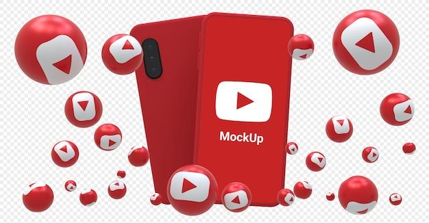 Youtube-symbol auf modellbildschirm-smartphone mit youtube-reaktionen