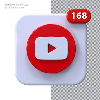 Youtube-symbol mit benachrichtigung 3d-konzept