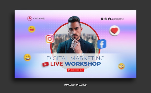 Youtube thumbnail für business promotion workshop vorlage