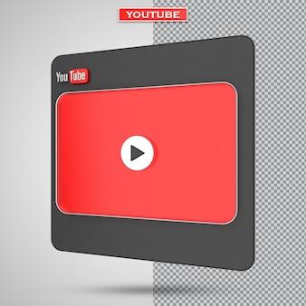 Youtube-videoplayer 3d-bildschirmdesign oder video-media-player-schnittstelle