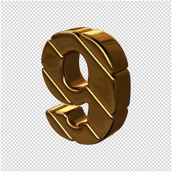 Zahlen aus goldbarren nach links gedreht. 3d-nummer 9