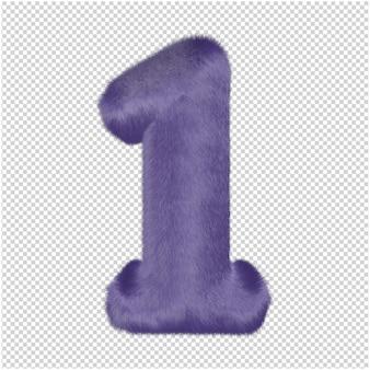 Zahlen aus lila fell. 3d-nummer 1