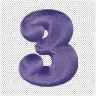 Zahlen aus lila fell. 3d-nummer 3