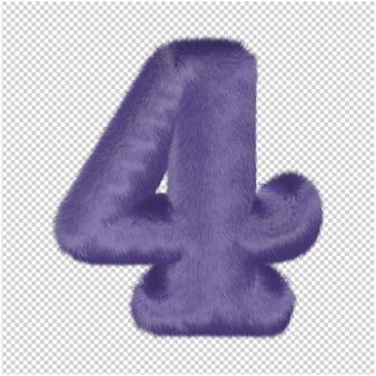 Zahlen aus lila fell. 3d-nummer 4