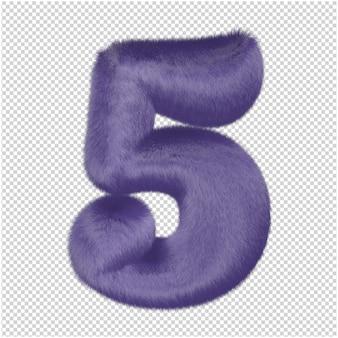 Zahlen aus lila fell. 3d-zahl 5