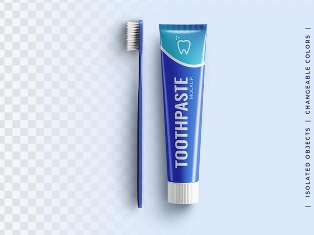 Zahnpastatube plastikverpackungsmodell mit draufsicht der zahnbürste isoliert