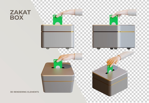 Zakat box 3d-rendering-elemente