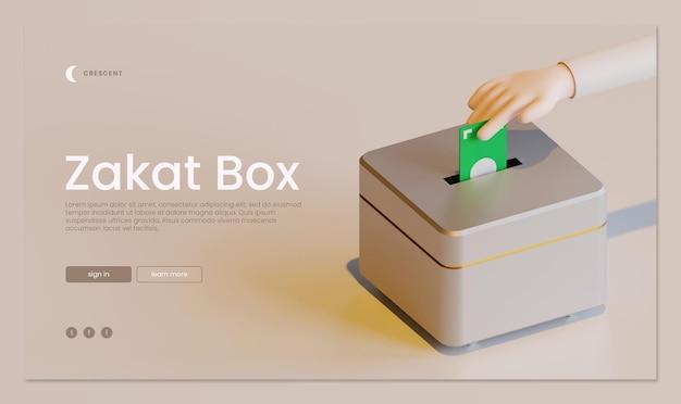 Zakat box landing page vorlage mit hand 3d rendering illustration