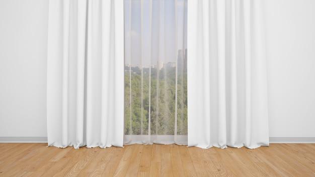 Zarte weiße vorhänge, weiße wand und holzboden. leerer raum als hintergrund