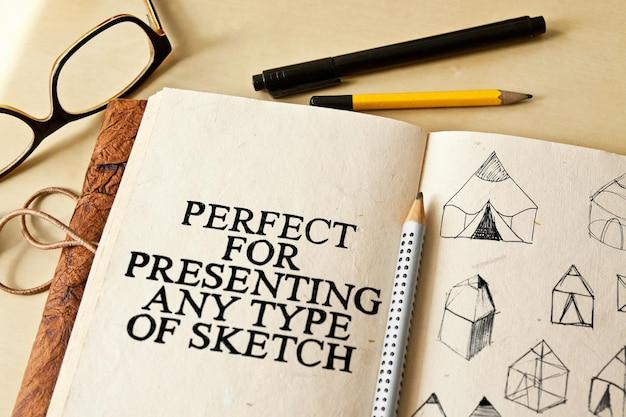 Zeichnen von skizzenblöcken mock-ups