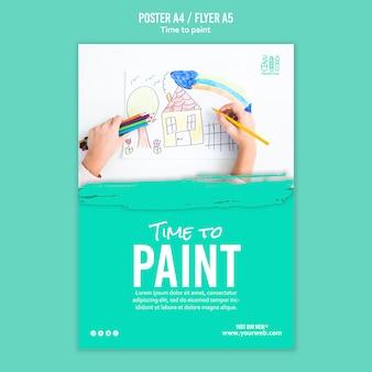 Zeit, flyer vorlage zu malen