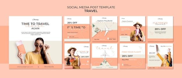 Zeit für reisen in sozialen medien Premium PSD