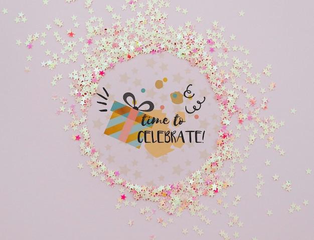 Zeit, konfettirahmen zu feiern
