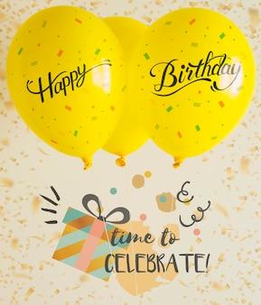 Zeit zum feiern mit luftballons und konfetti