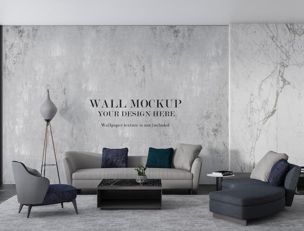 Zeitgenössisches lobby-wandmodell mit minimalistischen möbeln