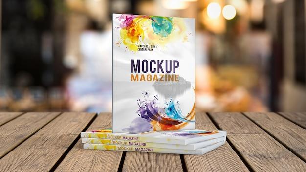 Zeitschriftenmodell auf holztisch
