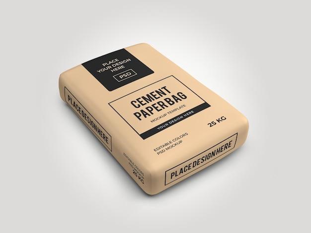 Zementsack papiertüte 3d mockup vorlage isoliert psd