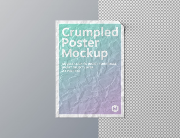 Zerknittertes plakat herausgeschnitten auf grauem oberflächenmodell