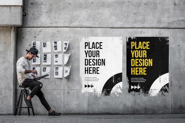 Zerknittertes urbanes postermodell