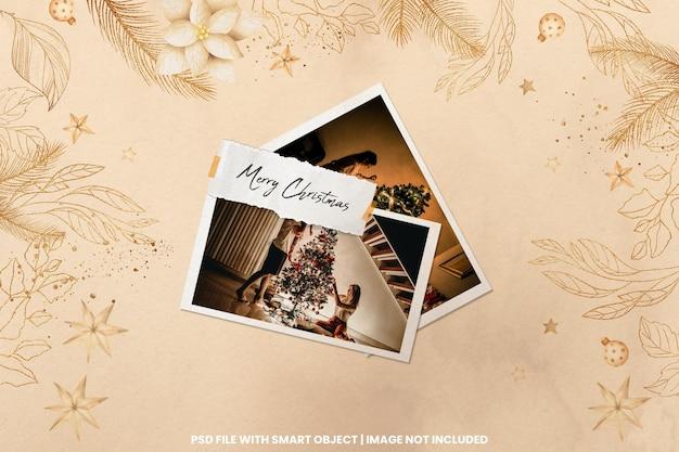 Zerrissener fotorahmen polaroid vorlage weihnachten und neujahr mockup premium psd