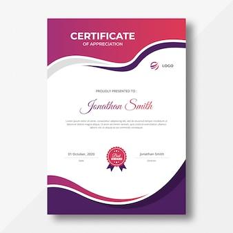 Zertifikat für vertikale lila und rosa wellen