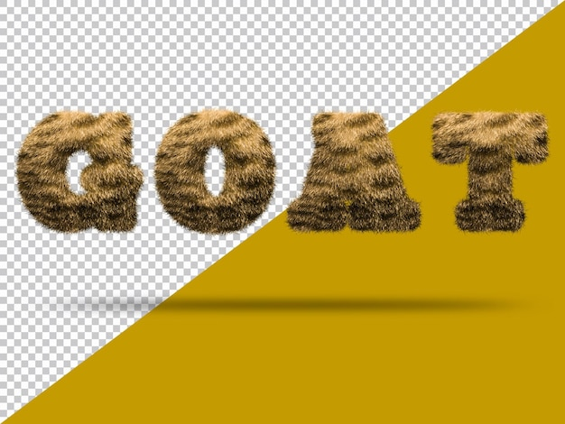 Ziegentext mit realistischem 3d-fell