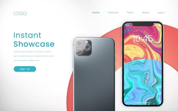 Zielseite mit modernem pixelgenauen telefonmodell