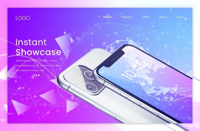 Zielseite mit zwei realistischen modernen Pixeln, perfektes Telefonmodell