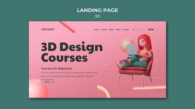 Zielseitenvorlage für 3d-design mit frau