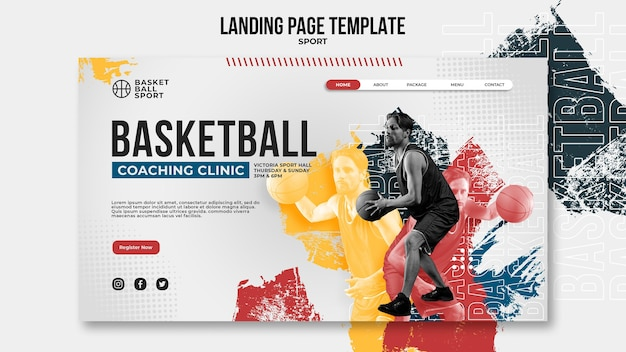 Zielseitenvorlage für basketball mit männlichen spielern