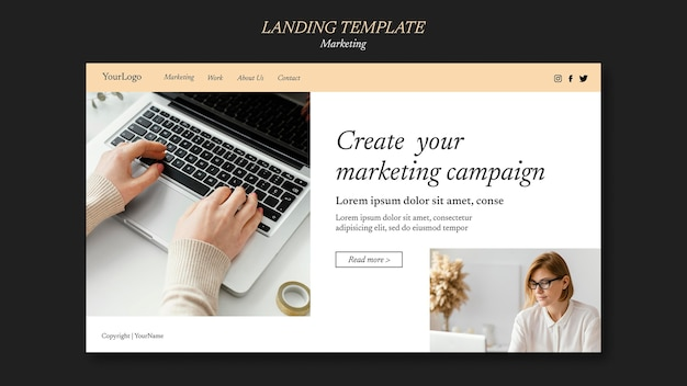 Zielseitenvorlage für marketingkampagnen