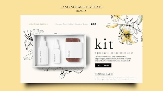 Zielseitenvorlage für schönheitsprodukte mit handgezeichneten blumen