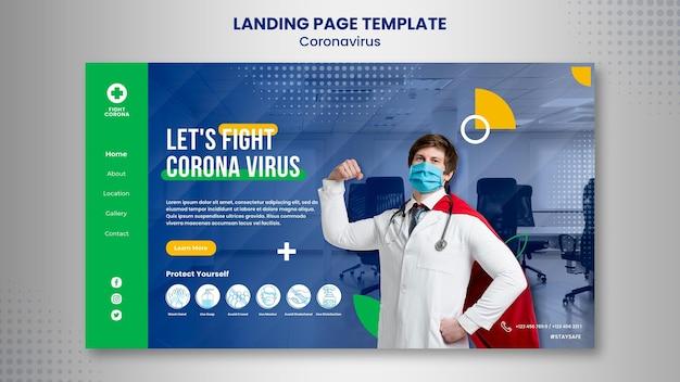 Zielseitenvorlage zur bekämpfung des coronavirus