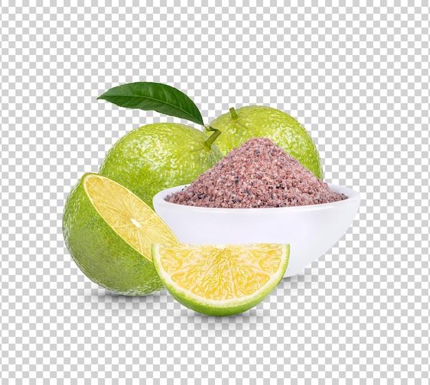 Zitrone und schwarzes himalaya-salz isoliert