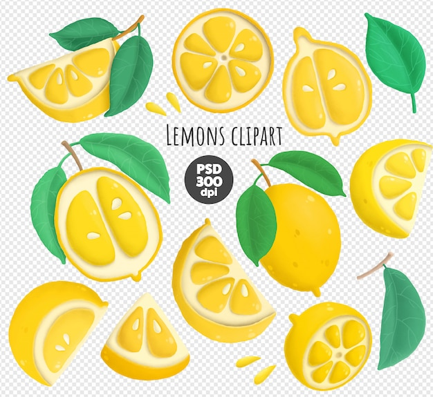 Zitronen psd clipart sammlung