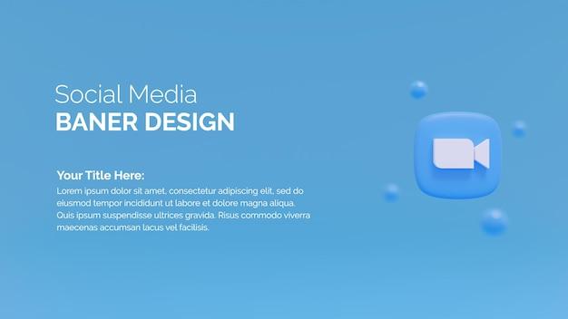Zoom-logo-symbol auf 3d-rendering-hintergrund
