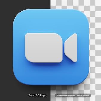Zoom videoanruf 3d logo-stil in runden ecke quadratischen symbol asset isoliert