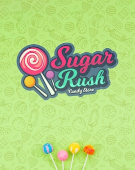 Zuckeransturm mit gekritzelhintergrund und -lutscher