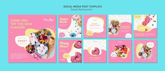 Zuckeransturm-süßwarenladen-social media-schablone